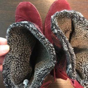 Toms Shoes - Tom's Moccasin Boots-burgundy